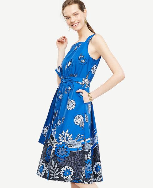 Tie-Front Poplin Dress