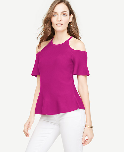Ann Taylor Petite Cold Shoulder Peplum Sweater