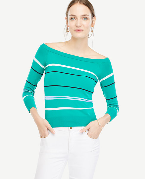 Ann Taylor Petite Stripe Off The Shoulder Sweater