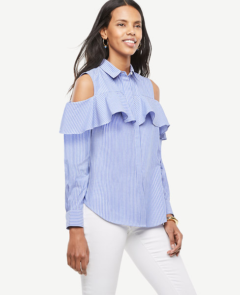 Striped Cold Shoulder Flounce Shirt