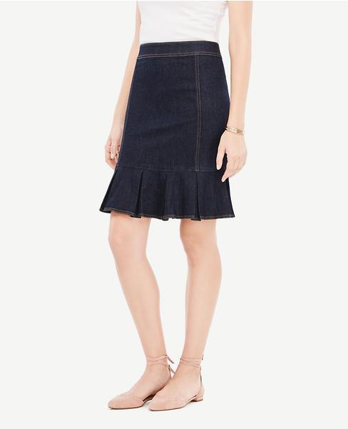 Denim Peplum Pencil Skirt