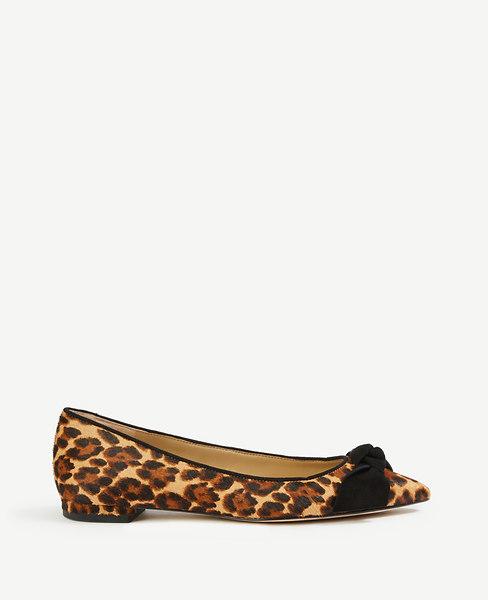 Ann Taylor Camryn Leopard Print Haircalf Bow Flats