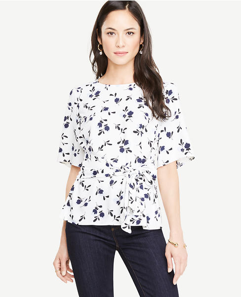 Floral Belted Mixed Media Top