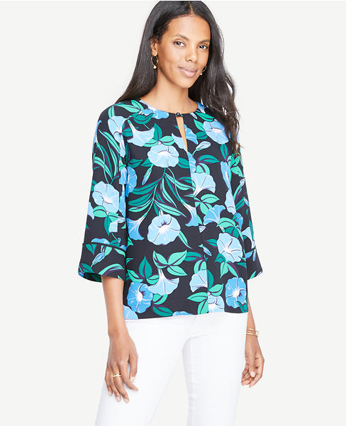 Garden Split Neck 3/4 Sleeve Top