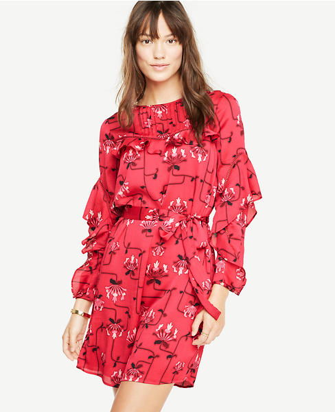 Ruffle Sleeve Lace Inset Dress