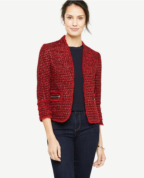 Fringe Tweed Zip Pocket Jacket
