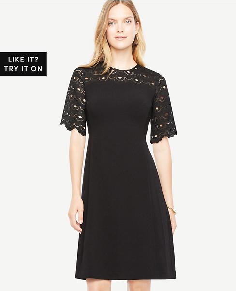 Circle Lace Yoke Flare Dress