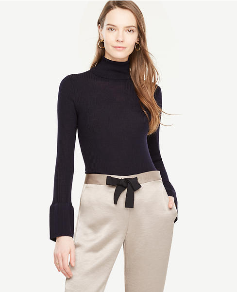 Wide Cuff Ribbed Turtleneck Sweater