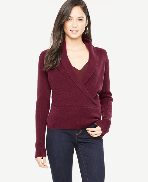 Ann Taylor Cashmere Wrap Front Sweater