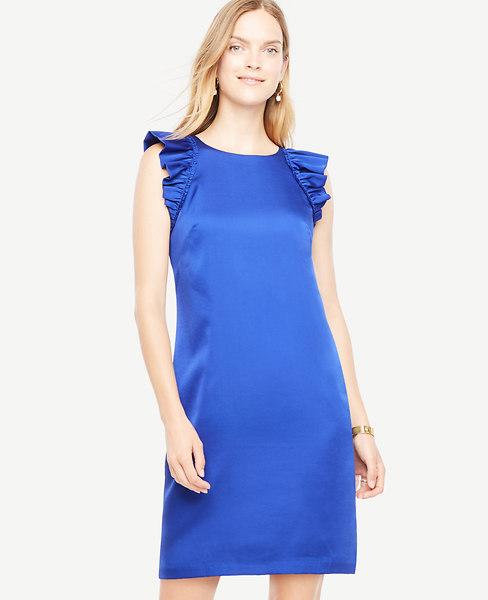 Ann Taylor Petite Ruffle Sleeve Shift Dress