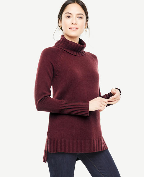 Cashmere Turtleneck Tunic Sweater | Ann Taylor