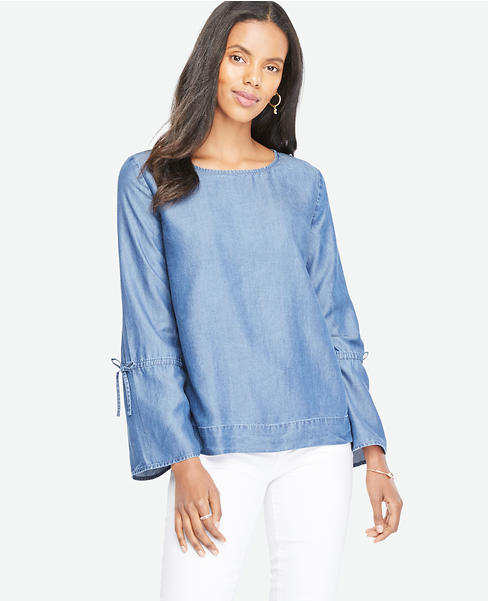 Chambray Tie Sleeve Top