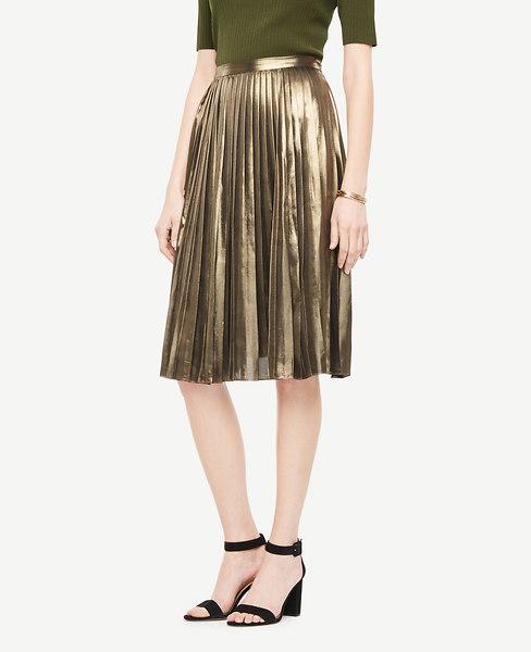 Ann Taylor Petite Metallic Pleated Skirt