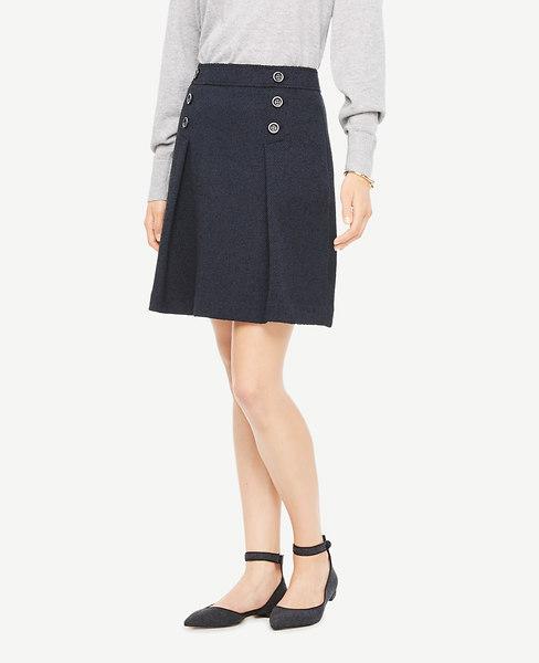 Ann Taylor Petite Tweed Button Skirt