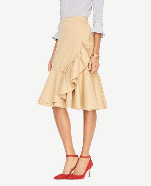 Ann Taylor Petite Double Ruffle Midi Skirt