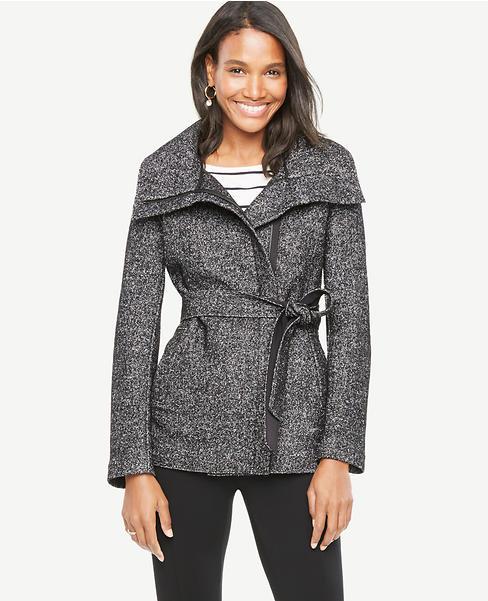 Petite Tweed Funnel Jacket