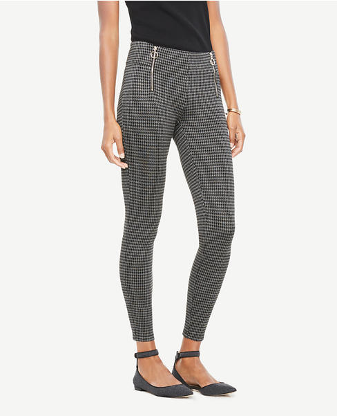 Tall Houndstooth Front Zip Leggings