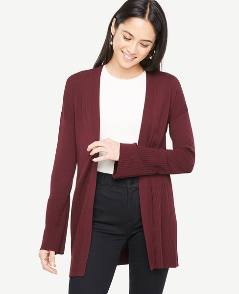 Ann Taylor Petite Mixed Gauge Open Cardigan