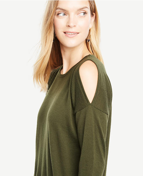 Petite Extrafine Merino Wool Cold Shoulder Sweater
