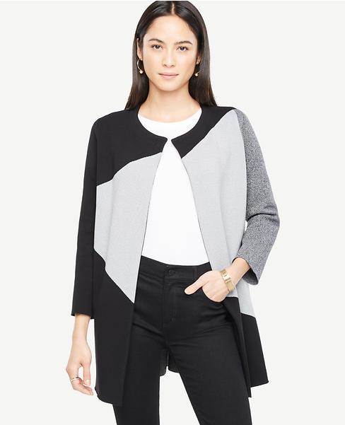 Petite Colorblock Sweater Coat | Ann Taylor