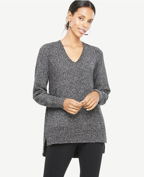 Marled V-Neck Tunic Sweater