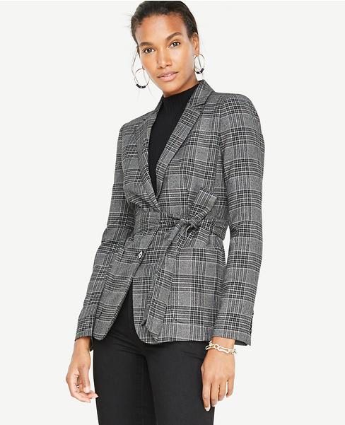 Petite Menswear Plaid Belted Blazer
