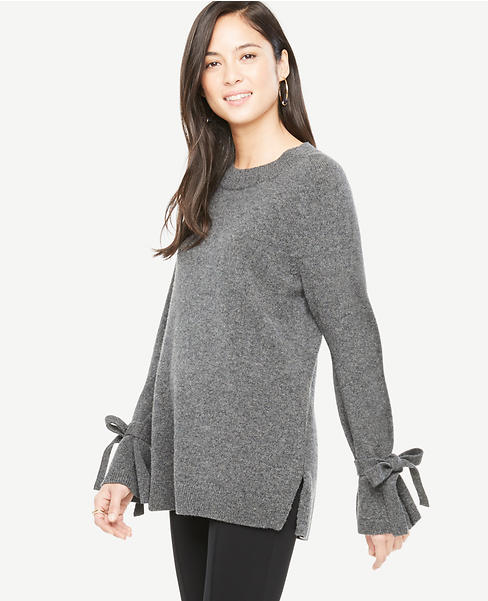 Wool Cashmere Tie Sleeve Sweater