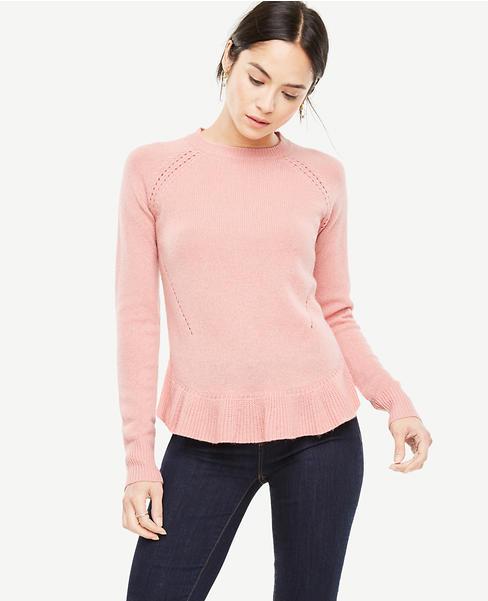 Petite Wool Cashmere Ruffle Hem Sweater