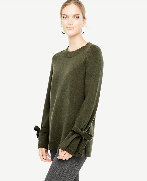 Petite Wool Cashmere Tie Sleeve Sweater