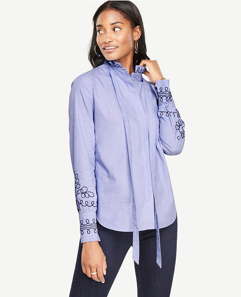 Petite Embroidered Tie Neck Blouse