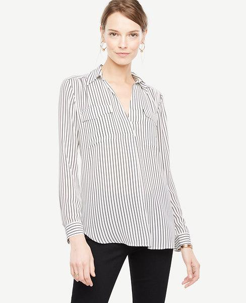Ann Taylor Tall Striped Camp Shirt