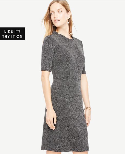 Ruffle Neck Sheath Dress
