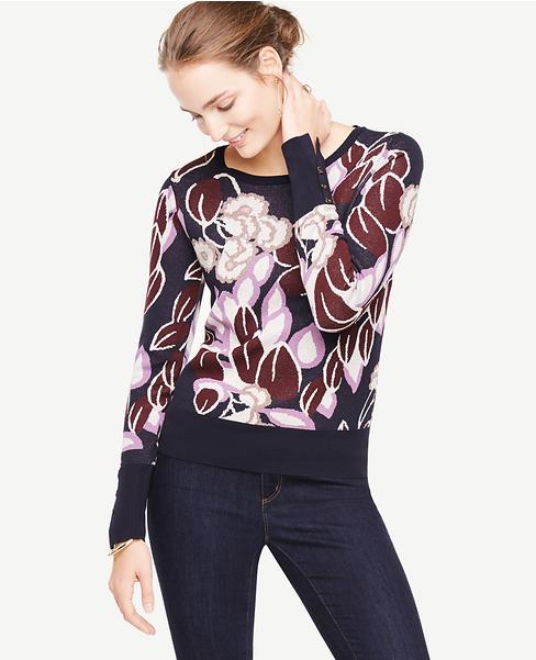 Botanical Jacquard Button Cuff Sweater