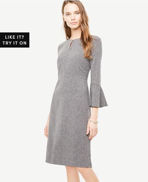 Petite Flare Sleeve Sheath Dress