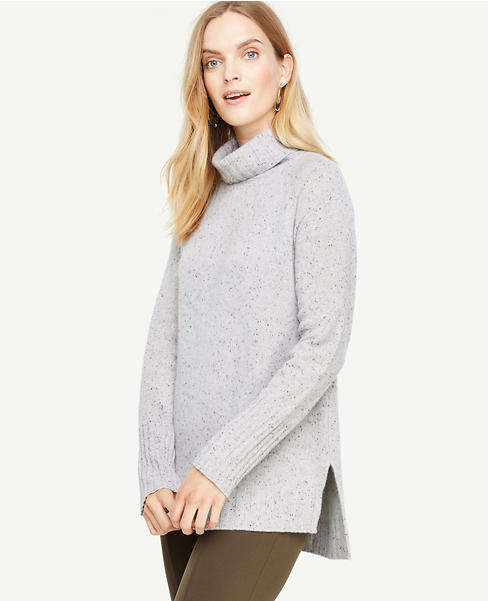 Cashmere Flecked Turtleneck Tunic Sweater | Ann Taylor