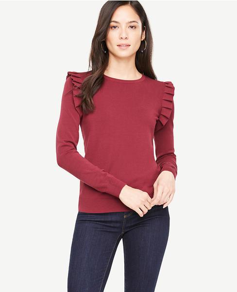 Shoulder Ruffle Sweater