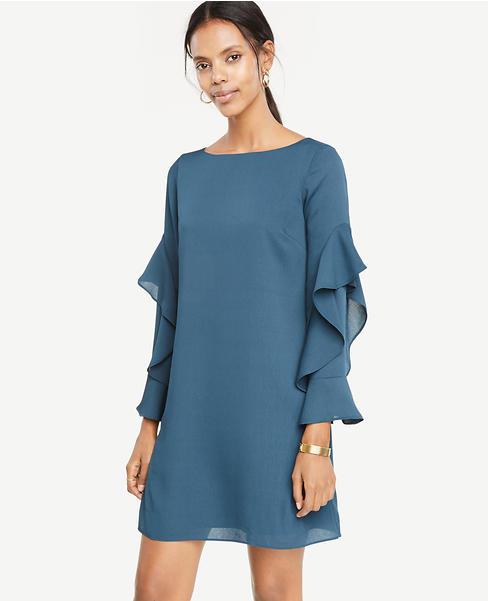 Cascading Ruffle Sleeve Shift Dress