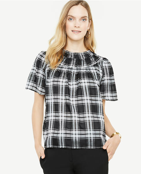 Plaid Ruffle Front Top