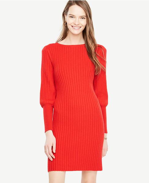 Lantern Sleeve Sweater Dress