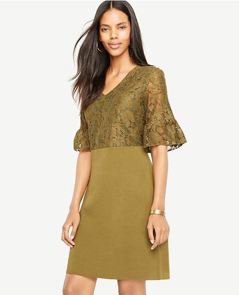 Lace Ruffle Cuff Sweater Dress