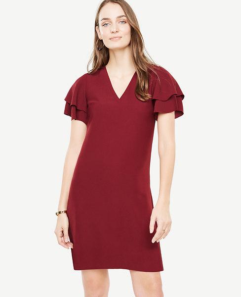 Ann Taylor Petite Double Ruffle Sleeve Shift Dress