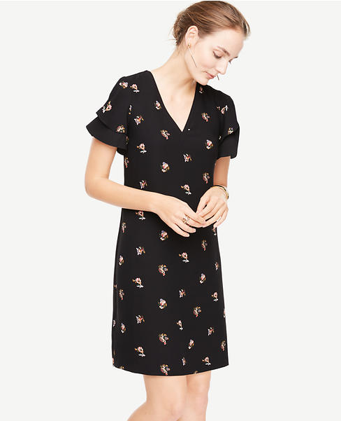 Petite Tossed Floral Double Ruffle Sleeve Shift Dress