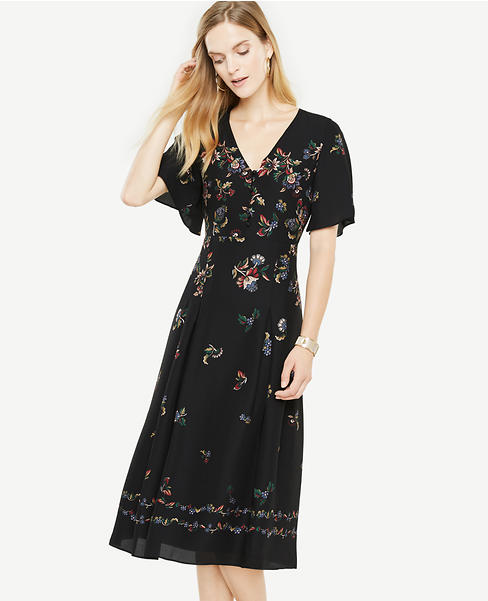 Petite Modern Folk Fit And Flare Dress