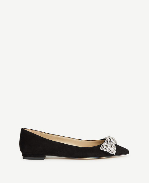 Ann Taylor Camila Jeweled Bow Suede Flats