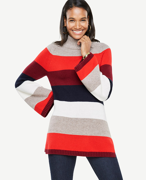 Ann Taylor Petite Striped Bell Sleeve Sweater