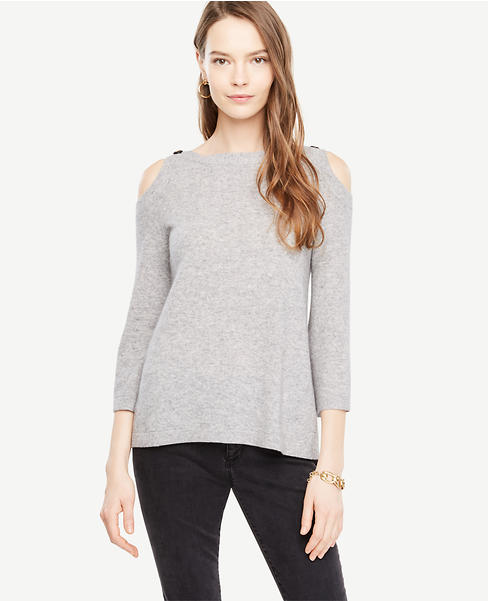 Cold Shoulder Button Sweater
