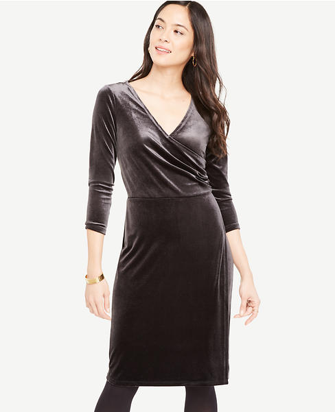 Ann Taylor Velvet Faux Wrap Dress