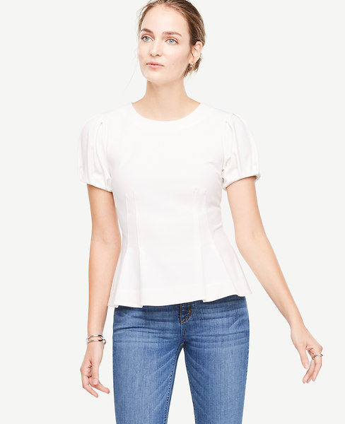 Ann Taylor Petite Structured Bubble Sleeve Top