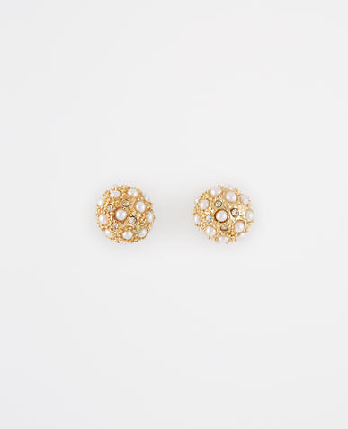 Image of Modern Pearlized Cabochon Stud Earrings