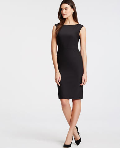 Image of Petite Tropical Wool Sheath Dress